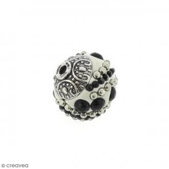 Perle indonésienne - Blanc et strass - 15 mm
