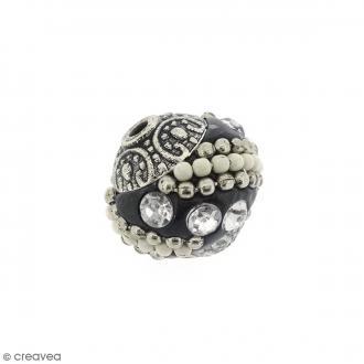 Perle indonésienne - Noir et strass - 15 mm