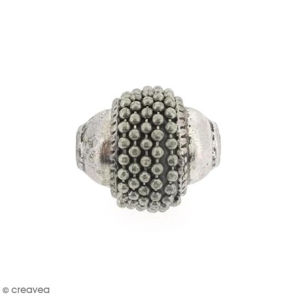 Perle indonésienne ovale - Gris argenté - 15 x 12 mm - Photo n°1