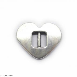 Perle métal Passant coeur plat - Gris - 17 mm