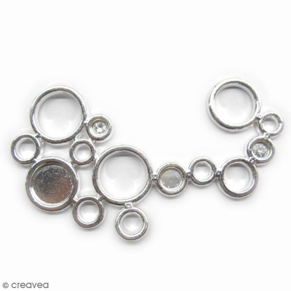 Pendentif métal - Ronds - Argent - 57 x 39 mm - Photo n°1