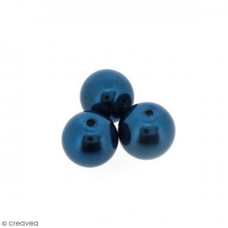 Perles en verre nacrées Bleu pétrole - 10 mm - 10 pcs