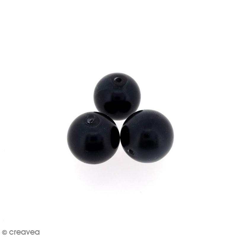 Perles en verre nacrées Noir - 10 mm - 10 pcs - Photo n°1