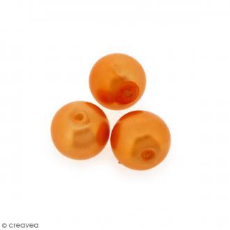 Perles en verre nacrées Orange - 10 mm - 10 pcs