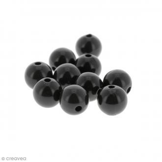 Perles acryliques Noir - 12 mm de diamètre - 10 pcs