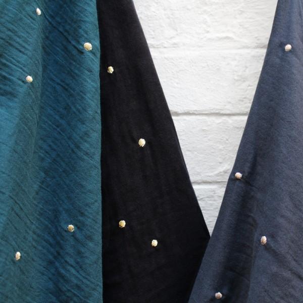 Tissu en double gaze de coton vert foret - Photo n°2