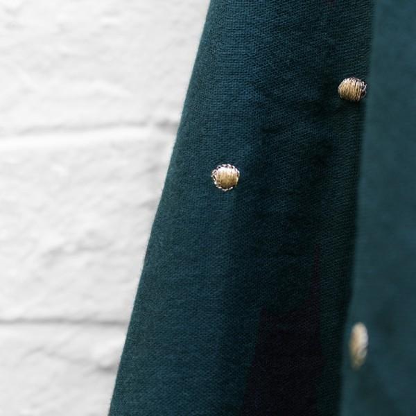 Tissu en double gaze de coton vert foret - Photo n°1