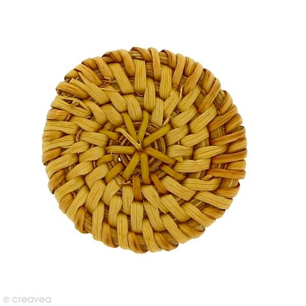 Pendentif Disque en rotin Marron - 4 cm - 1 pce - Photo n°1