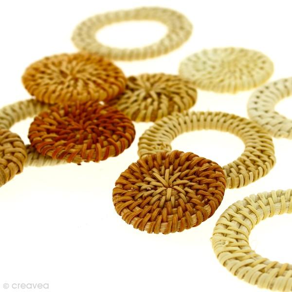 Pendentif Cercle en rotin Blanchi - 5 cm - 1 pce - Photo n°3