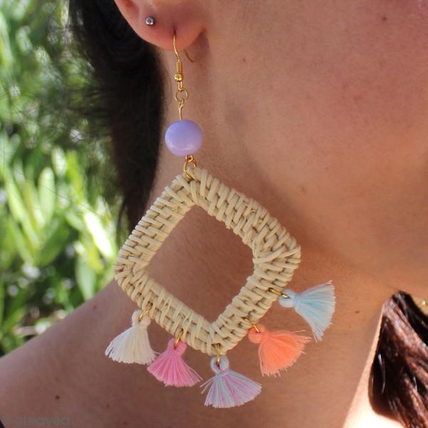 Pendentif Rectangle en rotin Blanchi - 3 x 4 cm - 1 pce - Photo n°2
