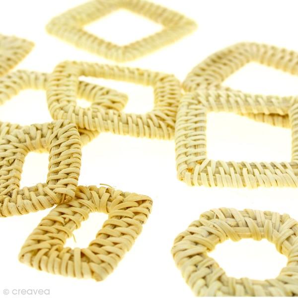 Pendentif Rectangle en rotin Blanchi - 3 x 4 cm - 1 pce - Photo n°3