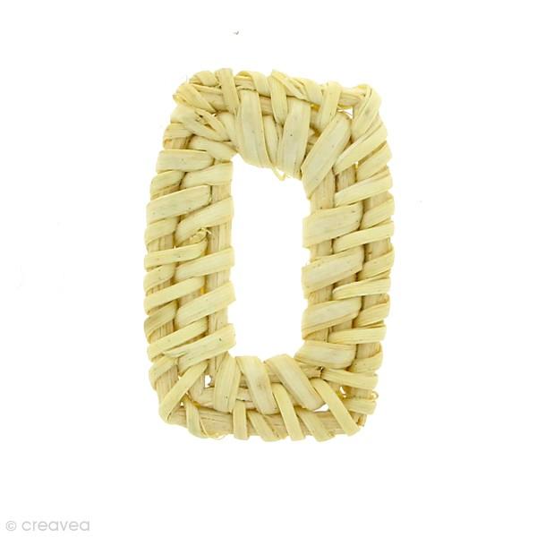 Pendentif Rectangle en rotin Blanchi - 3 x 4 cm - 1 pce - Photo n°1