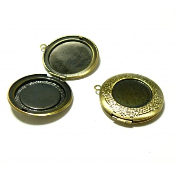 1 pendentif médaillon pour cabochon 20mm 2Z6813 metal couleur Bronze - Photo n°1