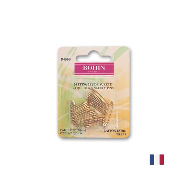 Epingles de sûreté à ressort, en laiton doré Bohin x24 - Photo n°1