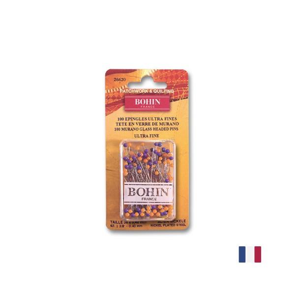 Epingles Ultra Fine - Tête en Verre de Murano Bohin x100 - Photo n°1