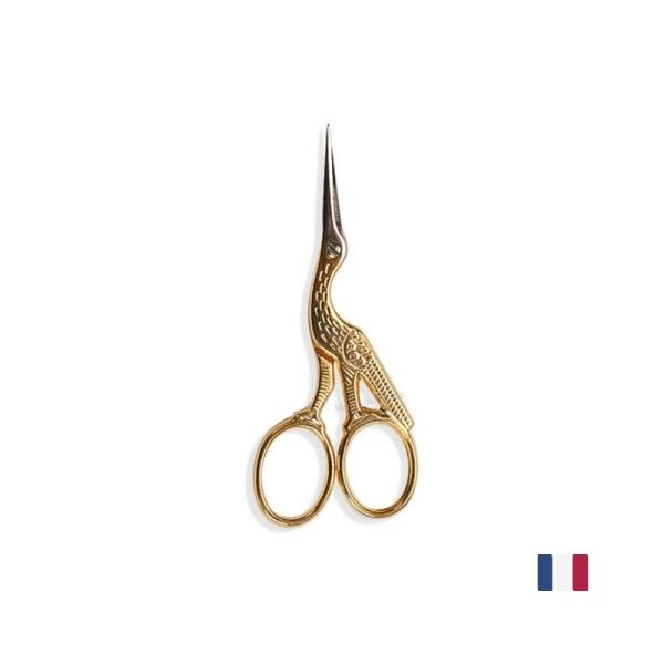 Ciseaux à broder Cigogne Doré 9 cm BOHIN France - Photo n°1