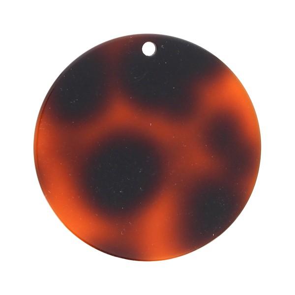 Pendentif écaille de tortue en acrylique - Rond 4,5 cm - Marron foncé - 1 pce - Photo n°1