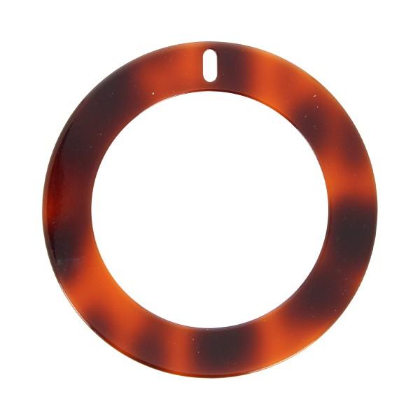 Pendentif écaille de tortue en acrylique - Cercle 6,5 cm - Marron foncé - 1 pce - Photo n°1