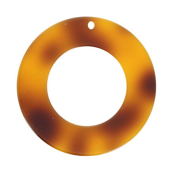 Pendentif écaille de tortue en acrylique - Cercle 4,5 cm - Marron clair - 1 pce - Photo n°1