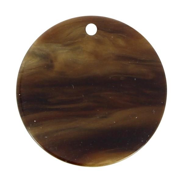 Pendentif marbré en acrylique - Rond 2,7 cm - Marron foncé - 1 pce - Photo n°1