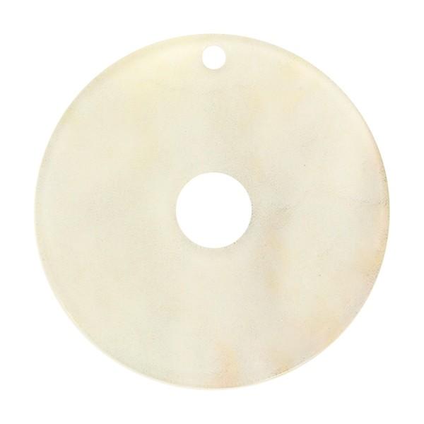 Pendentif marbré en acrylique - Cercle 4 cm - Beige clair - 1 pce - Photo n°1