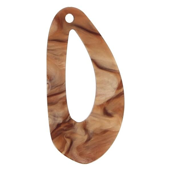 Pendentif marbré en acrylique - Goutte 2 x 3,7 cm - Marron nacré - 1 pce - Photo n°1
