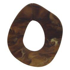 Maillon marbré en acrylique - Ovale 4,2 x 4,5 cm - Marron - 1 pce