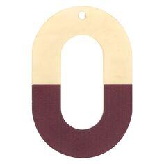 Pendentif Bicolore en acrylique - Ovale 4 x 6 cm - Marron et beige nacré - 1 pce