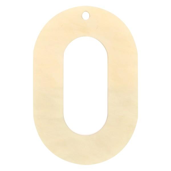 Pendentif Bicolore en acrylique - Ovale 4 x 6 cm - Marron et beige nacré - 1 pce - Photo n°2