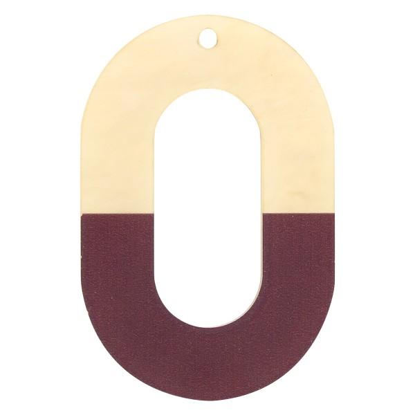 Pendentif Bicolore en acrylique - Ovale 4 x 6 cm - Marron et beige nacré - 1 pce - Photo n°1