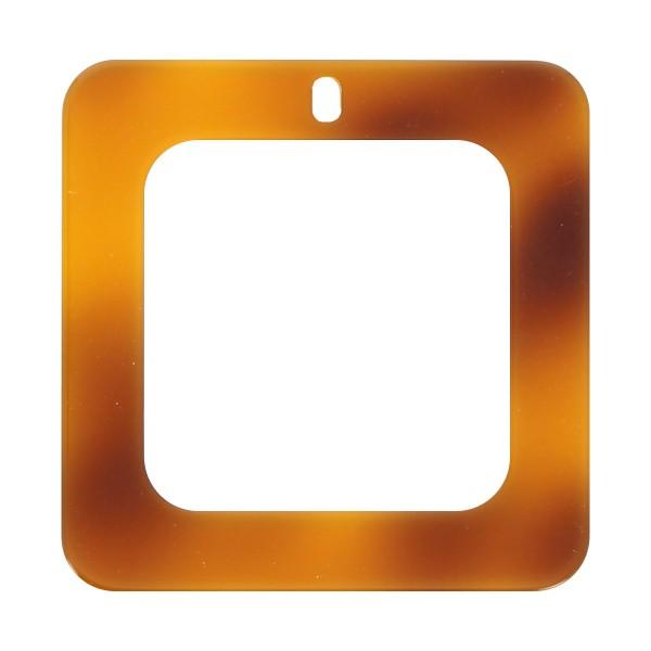 Pendentif écaille de tortue en acrylique - Carré 5 x 5 cm - Marron clair - 1 pce - Photo n°1