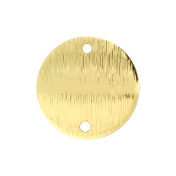 Breloque intercalaire ronde en métal brossé - Doré - 15 mm - Photo n°1