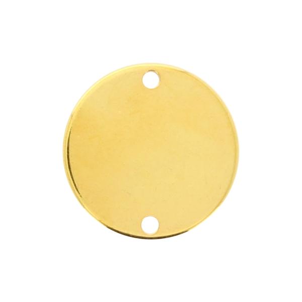Breloque intercalaire ronde en métal lisse - Doré - 20 mm - Photo n°1