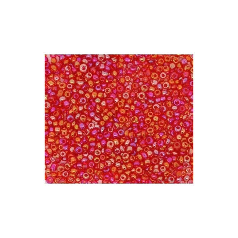 12//0 Perles de Rocailles en verre Opaque 2mm Rouge-Orange 20g