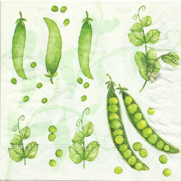 4 serviettes en papier découpage collage 33 cm PETIT POIS - Photo n°1