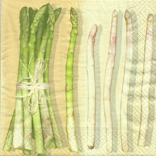 4 serviettes en papier découpage collage 33 cm ASPERGE 2 - Photo n°1