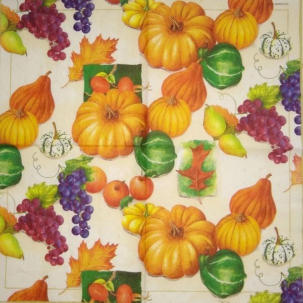 4 serviettes en papier découpage collage 33 cm POTIRON CITROUILLE - Photo n°2