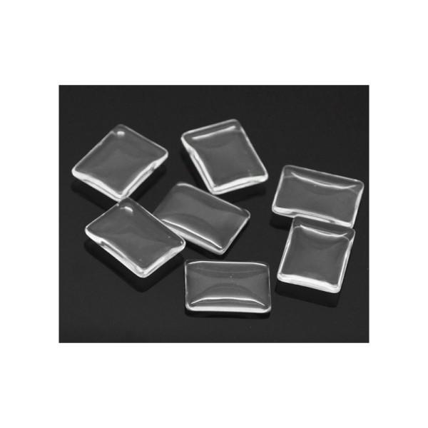 10 Cabochons rectangle dômes rond transparent 25 x 19 mm - Photo n°1