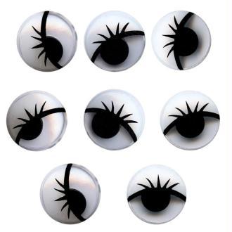 Yeux ronds avec pupilles mobiles et cils en plastique 1,5 cm x 8