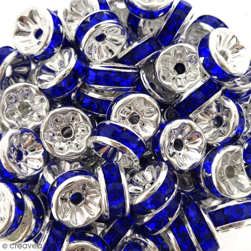 Perle intercalaire - Argentée à strass bleus - 8 x 3,5 mm - Photo n°2