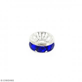 Perle intercalaire - Argentée à strass bleus - 8 x 3,5 mm