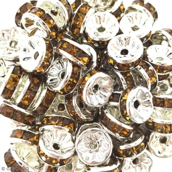 Perle intercalaire - Argentée à strass jaunes dorés - 8 x 3,5 mm - Photo n°2