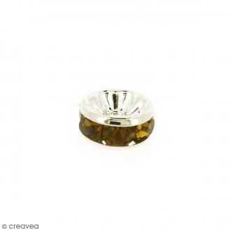 Perle intercalaire - Argentée à strass jaunes dorés - 8 x 3,5 mm