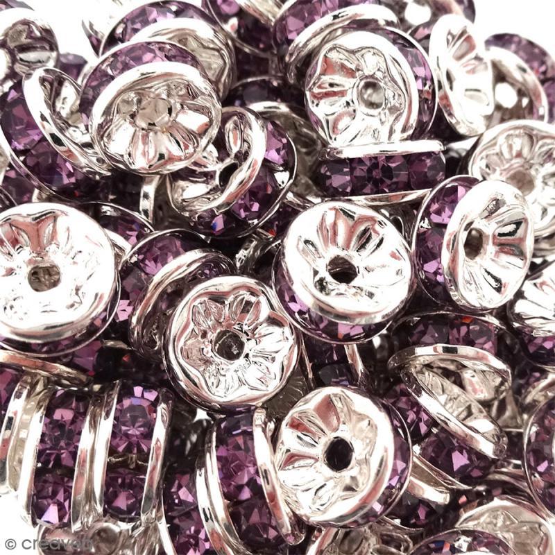 Perle intercalaire - Argentée à strass mauves - 8 x 3,5 mm - Photo n°2