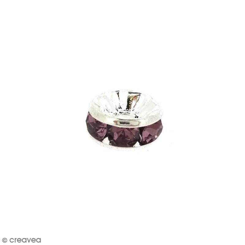 Perle intercalaire - Argentée à strass mauves - 8 x 3,5 mm - Photo n°1