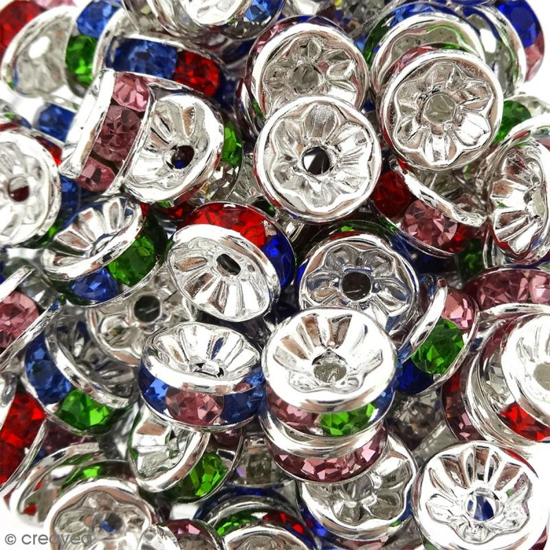 Perle intercalaire - Argentés à strass multicolores - 8 x 3,5 mm - Photo n°2