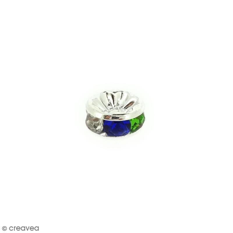 Perle intercalaire - Argentés à strass multicolores - 8 x 3,5 mm - Photo n°1