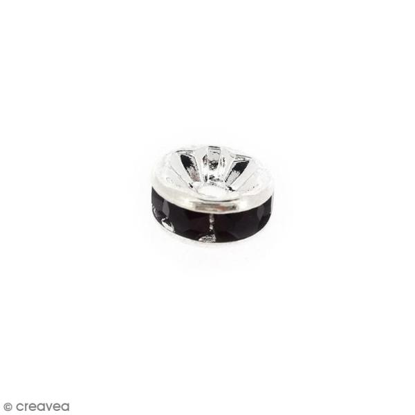 Perle intercalaire - Argentée à strass noirs - 8 x 3,5 mm - Photo n°1