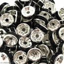 Perle intercalaire - Argentée à strass noirs - 8 x 3,5 mm - Photo n°2
