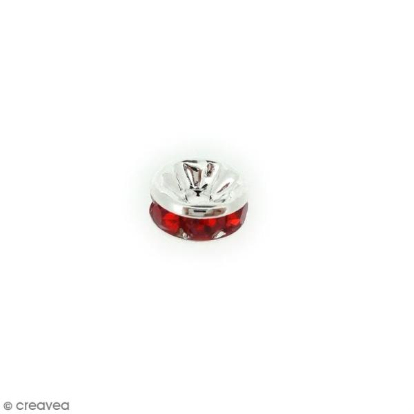 Perle intercalaire - Argentée à strass rouges - 8 x 3,5 mm - Photo n°1